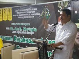 Kuliah Umum Peran Jaksa Mengawal Pembangunan Nasional; Jamintel Jan S Maringka: Penegakan Hukum Bukan Industri.