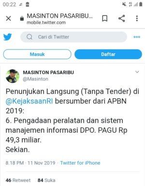 Enam Pengadaan Proyek Intelijen Bernilai Miliaran Rupiah Tanpa Tender, Cuitan Masinton Pasaribu Nangkring di Twitter, Kejaksaan Agung Tersengat.