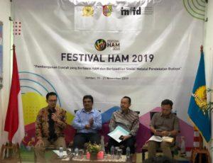 Konferensi pers Komnas HAM bekerja sama dengan pemerintah dan International NGO Forum on Indonesian Development (INFID) menuju Festival HAM 2019 di Jember, Jawa Timur pada 19-21 November 2019, di Kantor Komnas HAM, Jakarta, Kamis (14/11/2019).