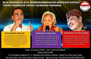Dianggap Sebagai Sumber Inspirasi Melawan Intoleransi, Haidar Alwi Bersama Dua Orang Tokoh Digelari Tokoh Toleransi Indonesia.