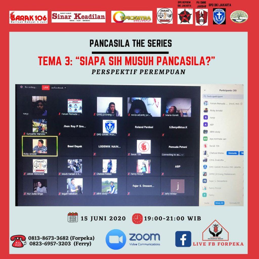 Webinar Pancasila The Series 3: Siapa Sih Musuh Pancasila? Persfektif Perempuan, Senin malam (15/06/2020).