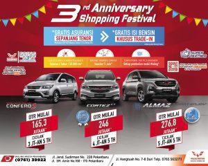 The 3rd Anniversary Shopping Festival, Wuling Arista Pekanbaru Gelar Promo HUT 3 Tahun Berkarya.
