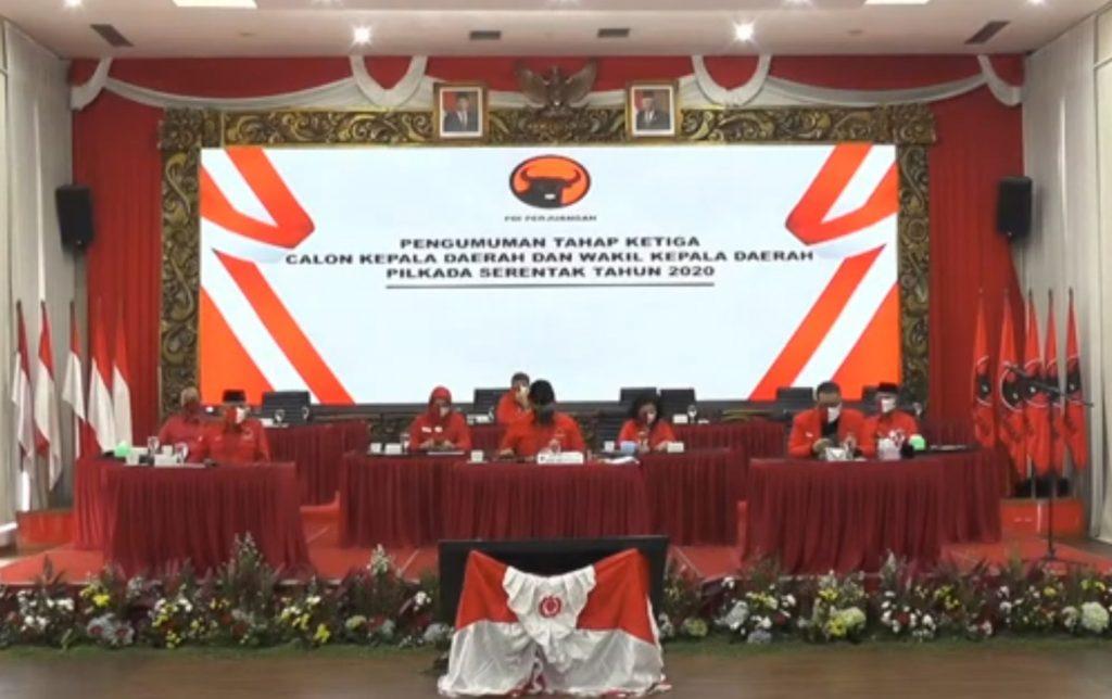 Dari Sebanyak 75 Rekomendasi Dukungan PDIP Dalam Pilkada Serentak, Hanya 6 Untuk Provinsi Riau. – Foto: Pengumuman Surat Keputusan Dukungan PDIP pada Pilkada Serentak 2020.(Net)