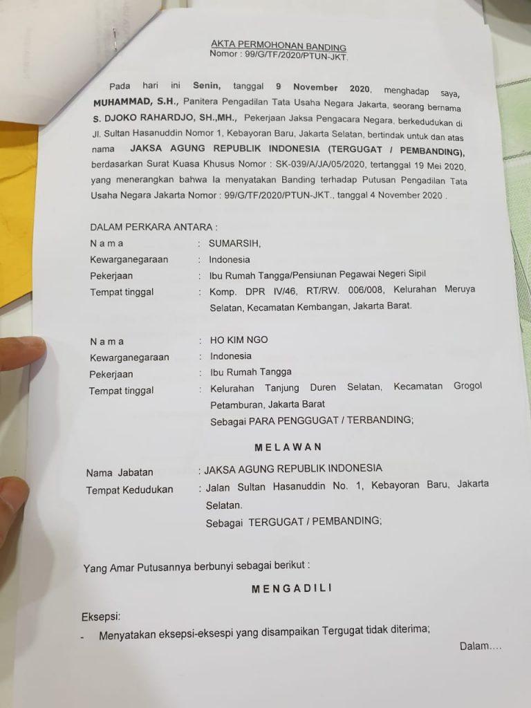 Disebut Tak Usut Kasus Pelanggaran HAM Berat Tragedi Semanggi, Jaksa Agung Republik Indonesia ST Burhanuddin Ajukan Banding Ke PTUN. – Foto: Jaksa Pengacara Negara (JPN) atas nama S Djoko Rahardjo telah memasukkan banding itu ke Pengadilan Tata Usaha Negara Jakarta (PTUN) dan sudah diterima oleh Panitera PTUN atas nama Muhammad, pada Senin 09 November 2020.(Ist)