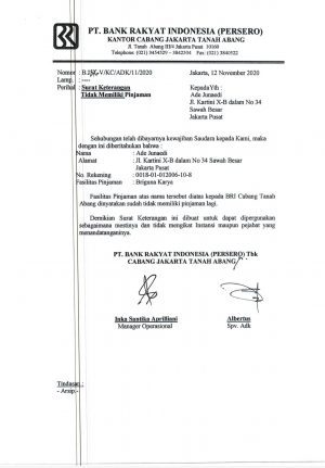 Aneh, Mendadak Korban Penipuan Bermodus Kredit Fiktif Bank BRI Cabang Tanah Abang dan PT Jasmina Asri Kreasi Terima Surat Keterangan Penghapusan Tagihan. – Foto: Salah seorang korban kredit fiktif Ade, mendadak menerima Surat Keterangan Penghapusan Tagihan dari PT Jasmina Asri Kreasi (JAK) dan Bank BRI Cabang Tanah Abang.(Ist)