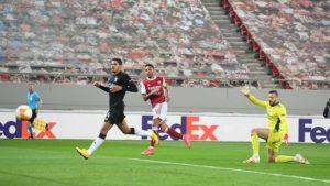 Liga Eropa, Arsenal vs Benfica Skor 3-2, The Gunners Maju ke Babak 16 Besar Liga Eropa. - Foto: Aubameyang ketika mencetak gol perdana Arsenal ke gawang Benfica pada ajang Liga Europa. (Twitter-Arsenal).