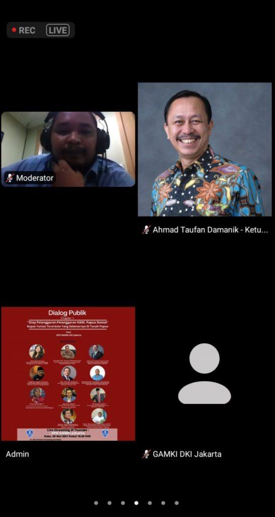 "Sedang Upayakan Penyelesaian Pelanggaran HAM Berat Papua, Komnas HAM Mengaku Kaget Dengan Labelisasi Teroris KKB. - Foto: Dialog Publik bertajuk ""Stop Pelanggaran-Pelanggaran HAM, Papua Damai; Kupas Tuntas Terorisme Yang Sebenarnya di Tanah Papua"", yang diselenggarakan oleh Dewan Pimpinan Daerah Gerakan Angkatan Muda Kristen Indonesia Provinsi DKI Jakarta (DPD GAMKI DKI Jakarta), dan disiarkan secara virtual, pada Rabu (05/05/2021). (Ist)"