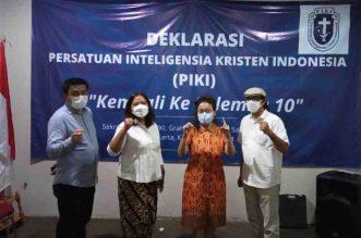 Ada Serah Terima Kepengurusan DPP di Hotel Gran Melia, Presidium PIKI Tetap Lanjut. - Foto: Perwakilan para aktivis Kristen asal Salemba 10 yang mendeklarasikan Presidium DPP PIKI Kembali ke Salemba 10 yang digelar di Sekretariat PP GMKI, Salemba Raya 10, Jakarta Pusat, Kamis (3/6/2021). Dari kiri: Sandi Ebenezer Situngkir, Wahyuningtyas Woro, Evi Douren dan Penrad Siagian.(Ist)
